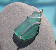 sea glass wrapped jewelry