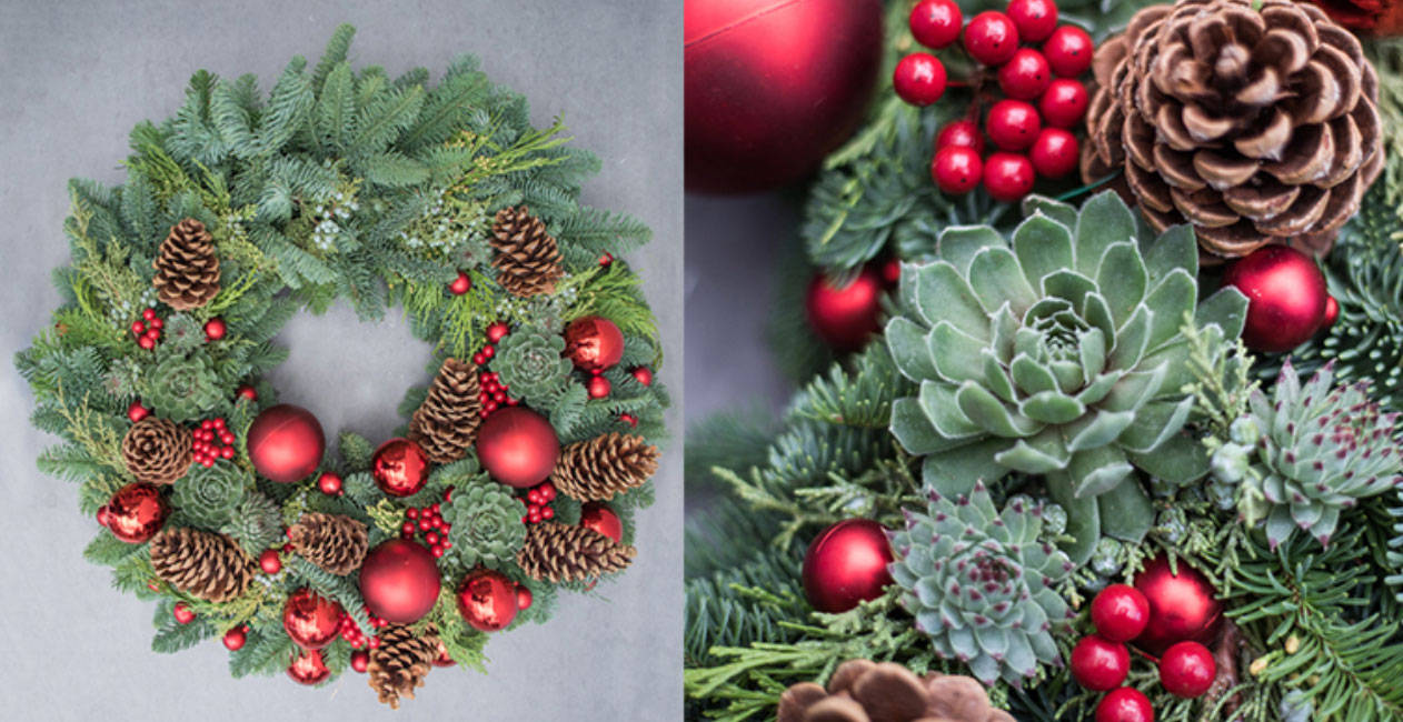 Fresh red holiday wreath