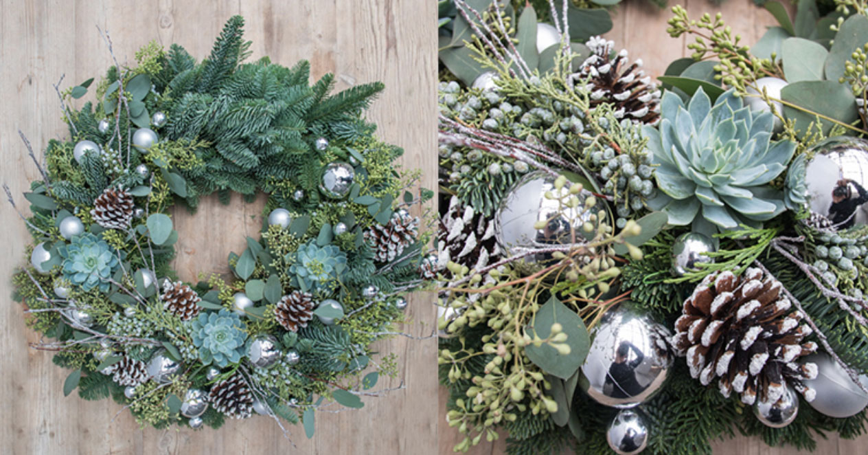 Fresh silver holiday wreath