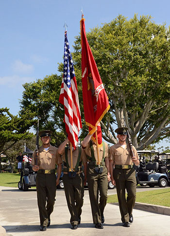 Marines with flags